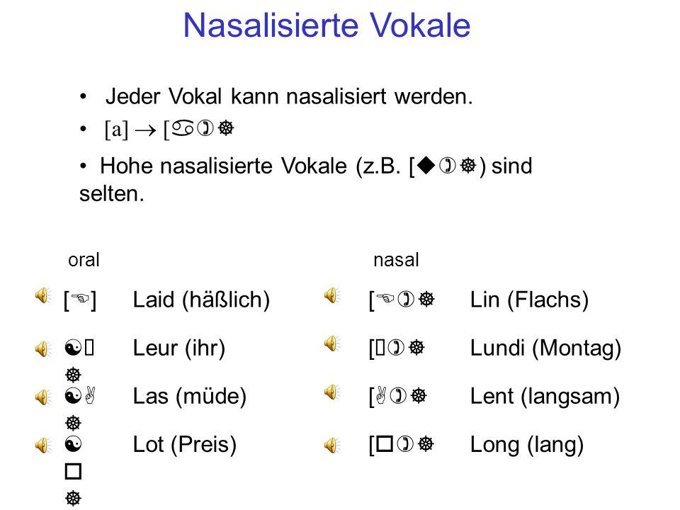 Nasalisierte Vokale Jeder Vokal kann nasalisiert werden. [a] ® [a)]